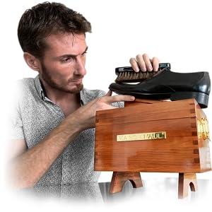 reproduction du coffret en bois de pin pour produit de cirage