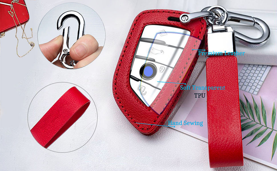 BMW Key Fob Cover Compatible with X1,X2,X3,X4,X5,X6,5 Series 7series in Red