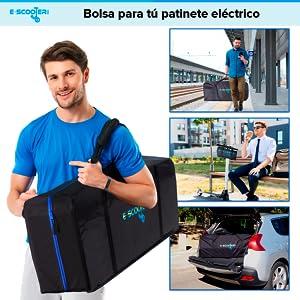 E-Scooter Bag Bolsa de Transporte para Patín eléctrico Accesorios Patinete Xiaomi M365 Funda Compatible con Ecogyro,GScooter, Cecotec con Espacio para ...