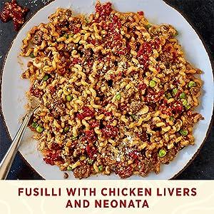 Fusilli with Chicken Livers and Neonata