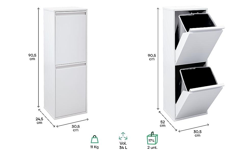 Dimensions poubelle de tri et de recyclage Basic 2 seaux