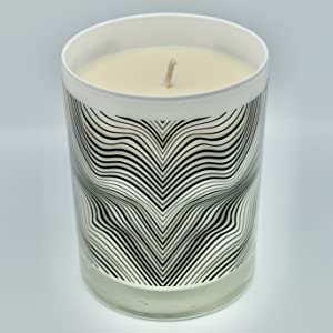 Glass Jar Container Candle, White with black amp; white squiggly line design.