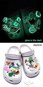 Glow in the dark shoe charms