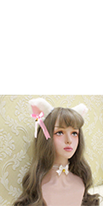 cosplay big cat wolf dog ears clips with bows