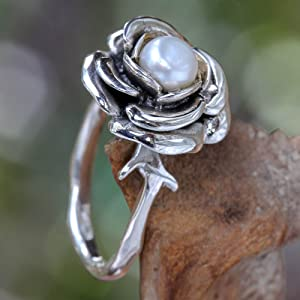 NOVICA ,Pearl,Sterling Silver,Handcrafted,Flower,Ring,Handmade,Rose,White,Jewelry, For Women, Gift