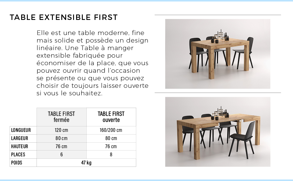 Table extensible Iacopo