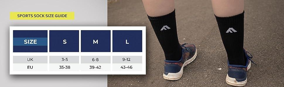 Sports socks sizelist