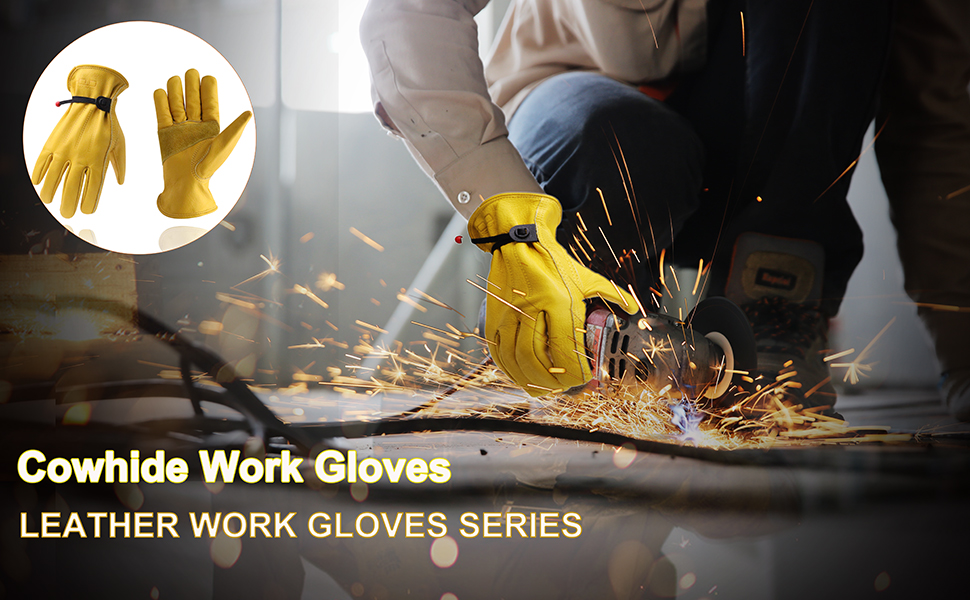 cowhide leather work gloves
