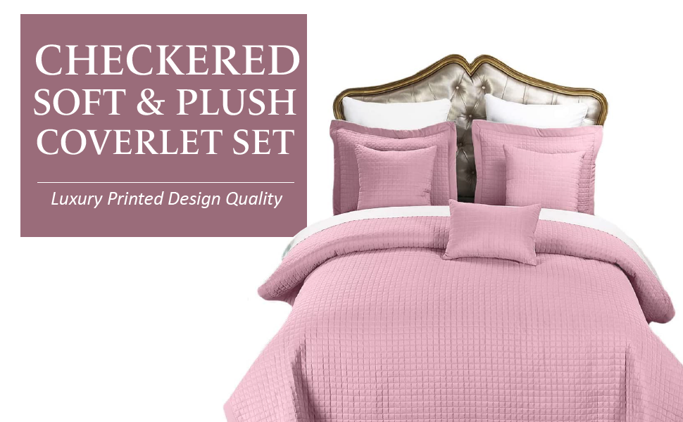 Royal Hotel Bedding Checkered Style Soft and Plush Coverlet, 3PC Set Stiched Filled Bedspread