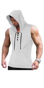 COOFANDY Men's Workout Hooded Tank Tops Sleeveless Gym Hoodie