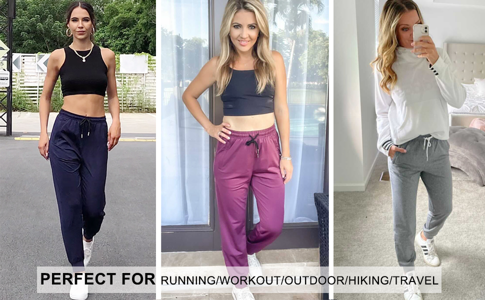 womens joggers with zipper pockets