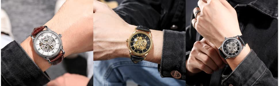 Men watches mechanical hand wind Automatic Movement Waterproof Leather Strap