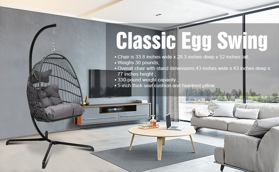 Dark Gray egg chair with stand