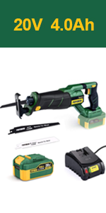 Brushless Cordless Reciprocating Saw, 20V 4.0Ah Lithium-Ion Battery