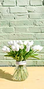 artifical white tulips real touch nearly natural