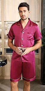 Men Pjs Pajama Set Loungewear Nightwear Sleepwear Short Sleeve Top Bottoms Outfits