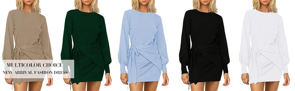 LaSuiveur Women's Elegant Knitted Bodycon Waist Knot Belt Tunic Dresses