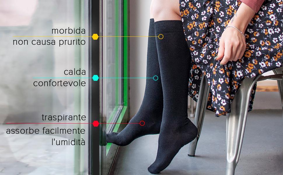 Calzini da donna alti in lana merino