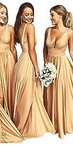 Split V Neck Bridesmaid Dresses