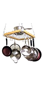 Ceiling Mounted Wooden Pot Rack, 24 by 18-Inch