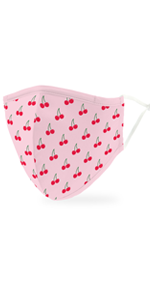 Kid's Reusable, Washable Cloth Face Mask With Filter Pocket - Cheery Cherry