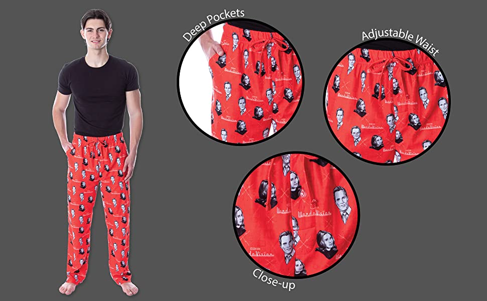 Red pants with Wanda Vision pattern