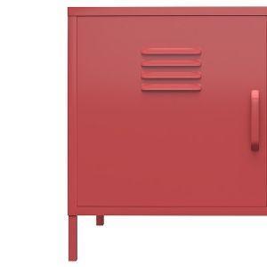 Cropped two door metal locker accent cabinet in terracotta