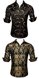 Black Gold Shirts for Men Casual Button Down Paisley Luxury Shirt Male Floral