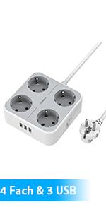 Meervoudige aansluiting met 4 compartimenten en 3 USB
