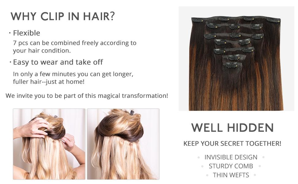 why clip in hair flexible easy to wear and take off