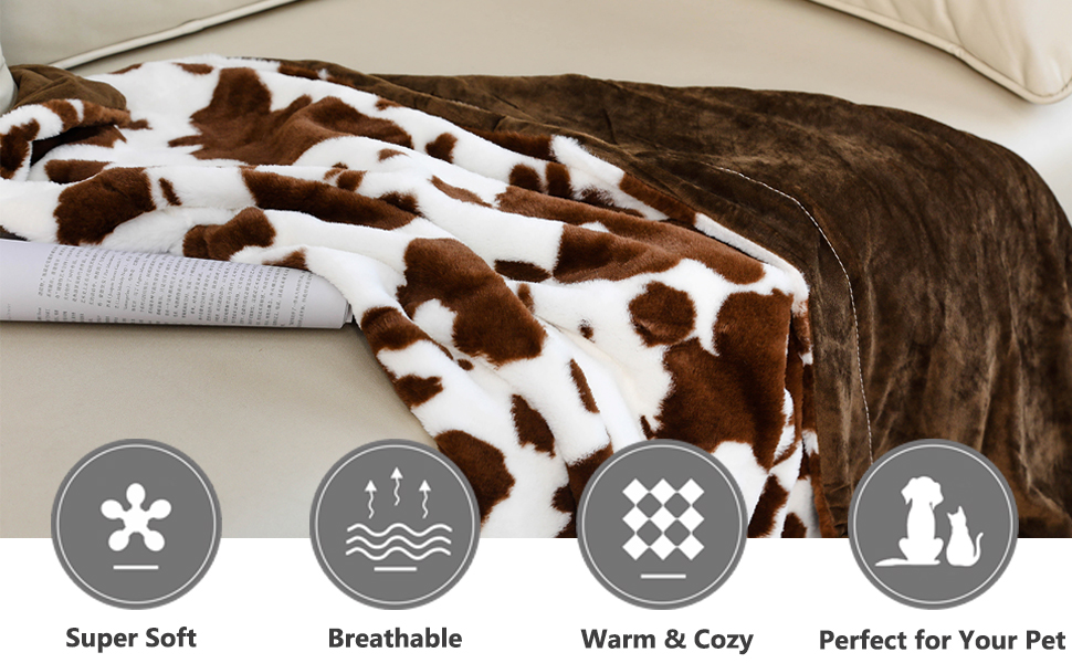 brown white cow print blanket super soft fluffy fuzzy throw blankets for bed sofa couch