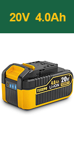 TECCPO 20V MAX 4.0 Ah Lithium Ion Battery-Pack, Rechargeable Replacement Battery