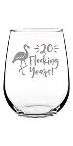 Text says 20 flocking years with image of a flamingo.