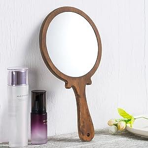 wooden handheld vanity mirror