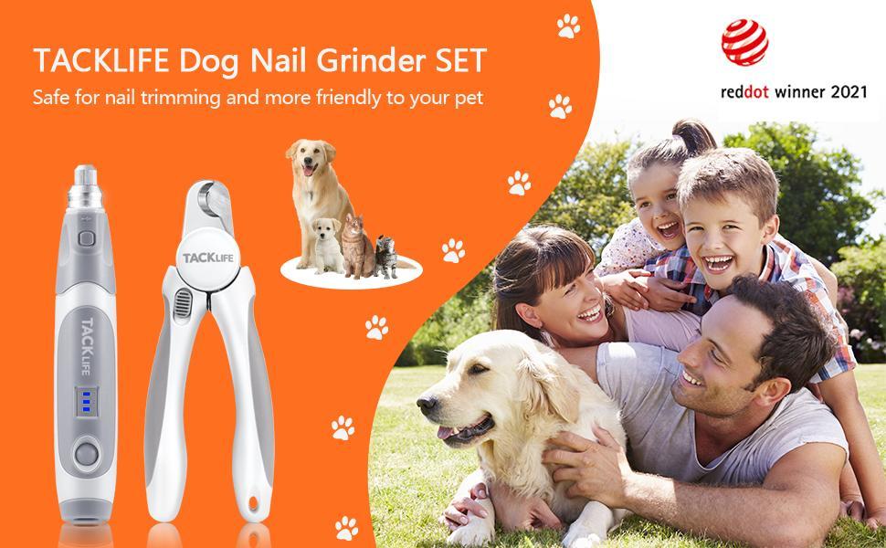 reddot winner 2021 TACKLIFE Dog Nail Clipper with Grinder