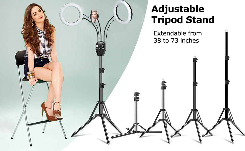 led dual ring light with stand