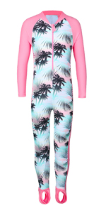 Girl Long Sleeve Swimsuits footed