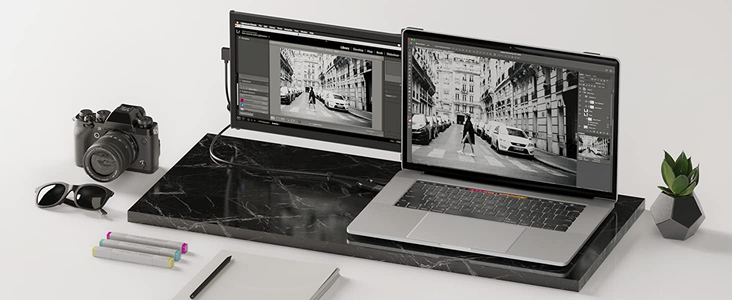 Landscape mode, extended portable monitor screen