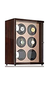 Watch winder for 6 watch slots automatic slots piano finish golden interior decorated