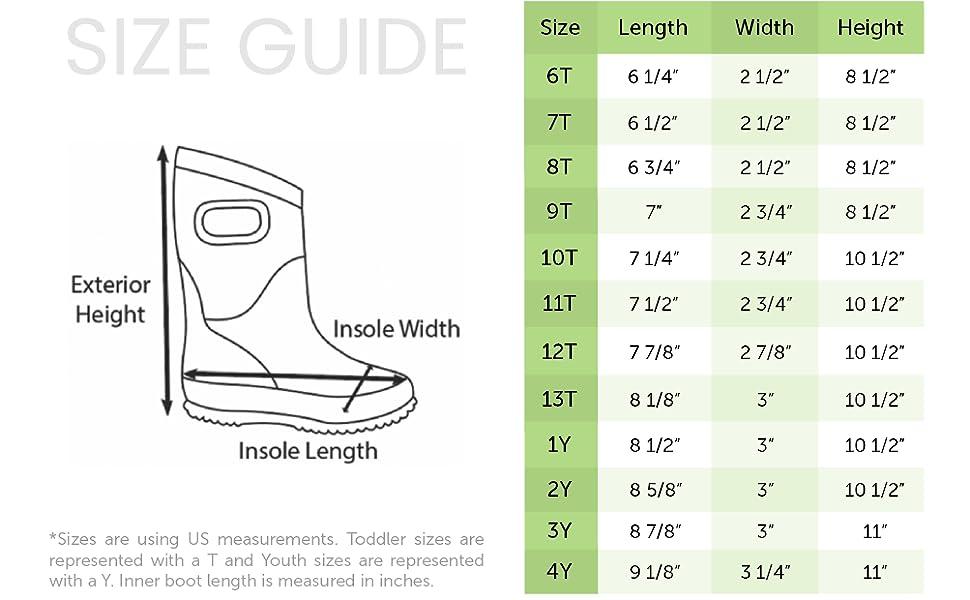 oaki neoprene boot size chart