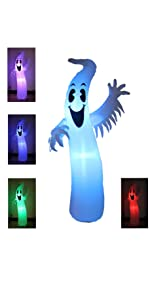8 Foot Tall Lighted Halloween Inflatable Ghost Monster with Color Changing LEDs