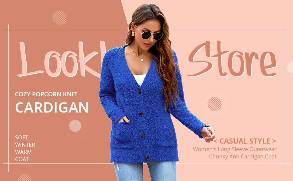 Lookbook Store Long Sleeve Soft Chunky Knit Sweater Open Front Cardigan Outwear with Pockets