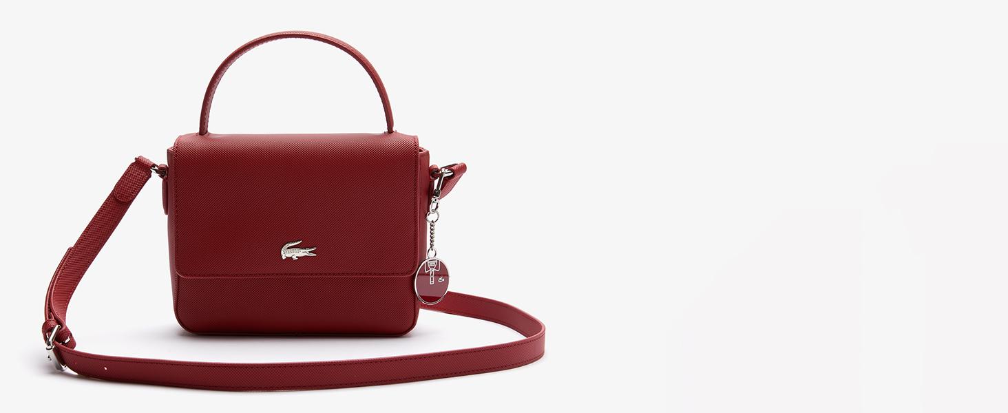 Piccola borsa a tracolla in tela rivestita rossa Lacoste