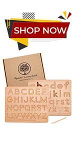 Wood alphabet tracing board