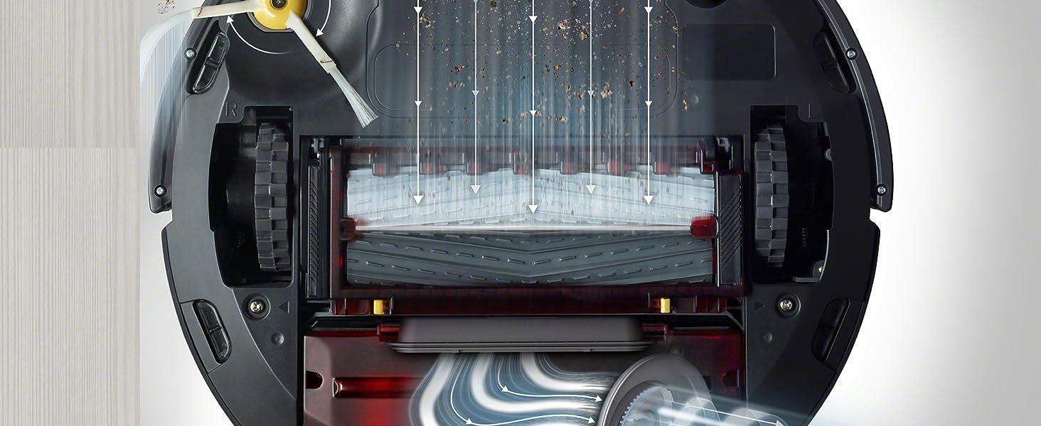 Onderzijde van de iRobot Roomba 981 met speciale rubberen borstels