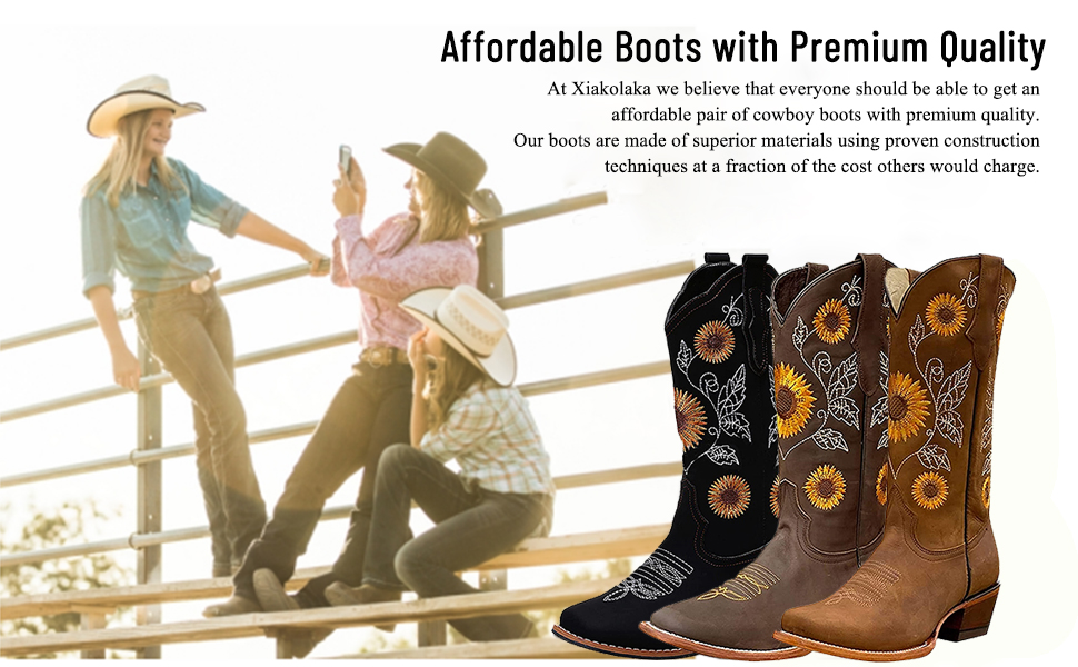 women cowgirl cowboy boots for women retro western boots sunflowers embroidery mid pull on boots