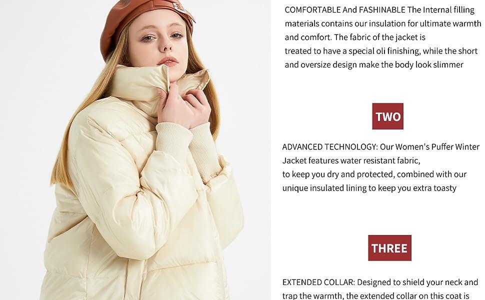 A chic warm winter puffer jacket for women