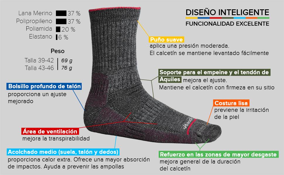 calcetines lana merino hombre trekking