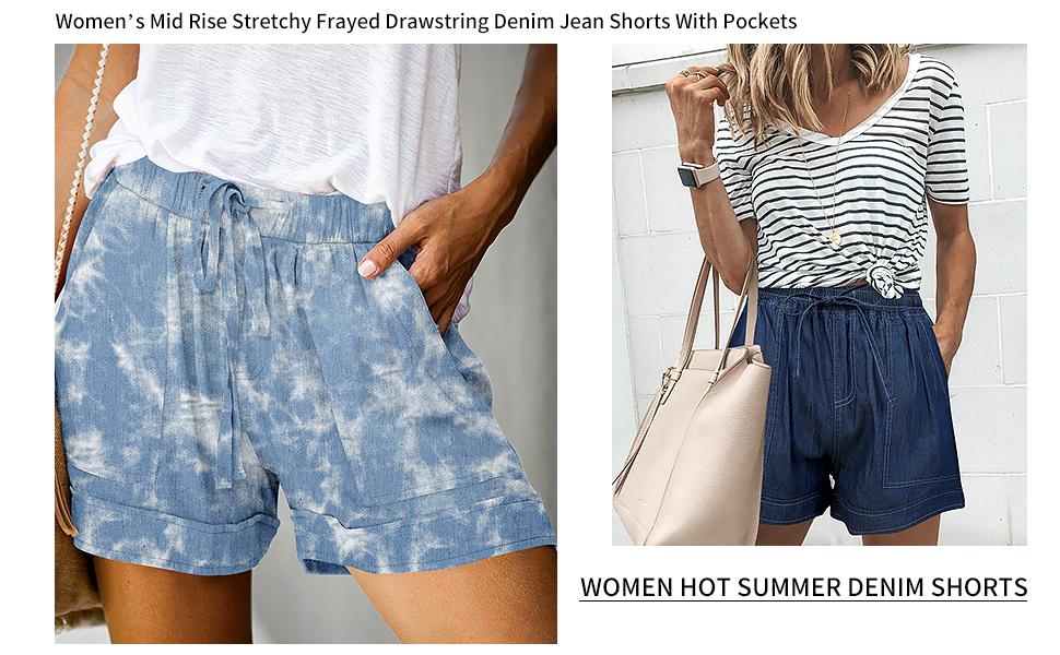 women wide leg pockets denim shorts