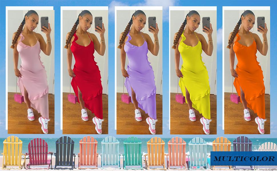 Colorful Split Long Dress for Women